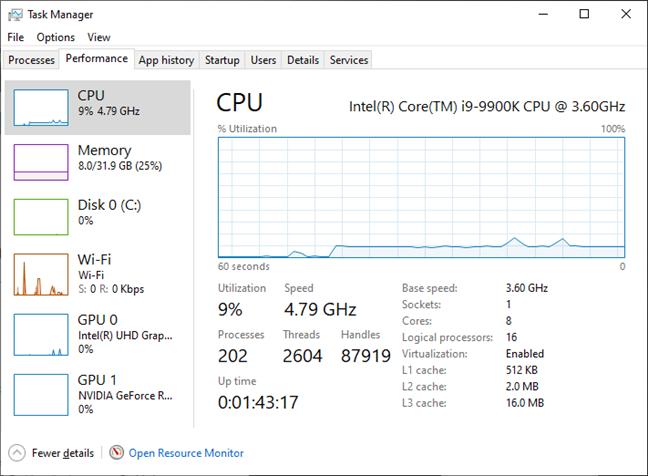 MSI GT76 Titan DT 9SG: Procesorul Intel Core i9-990K atinge în mod normal 4,8 GHz