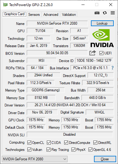 MSI GT76 Titan DT 9SG: Detalii despre placa video Nvidia Geforce RTX 2080