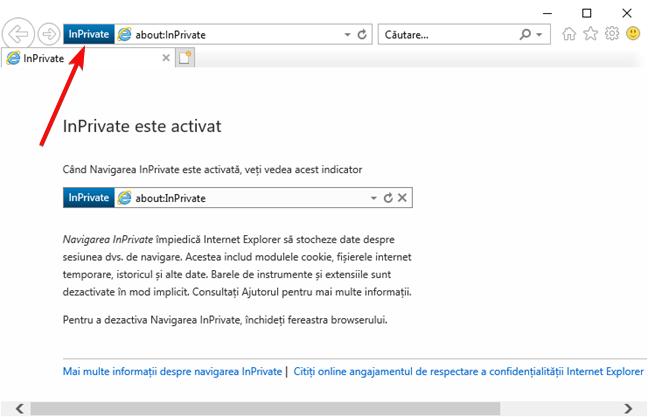Fereastră InPrivate în Internet Explorer