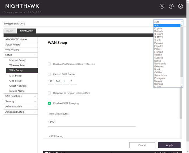 Schimbarea limbii folosite de NETGEAR Nighthawk AX4