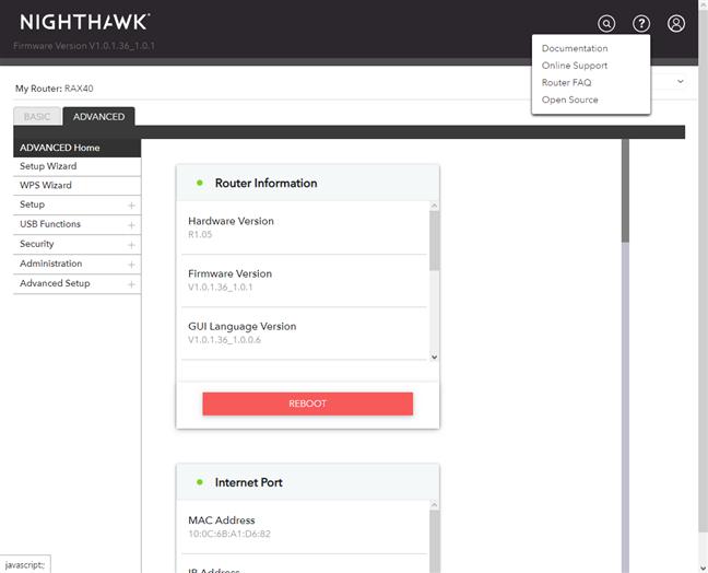 NETGEAR Nighthawk AX4 - opțiunile pentru suport