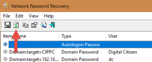 Network Password Recovery, parole, Windows