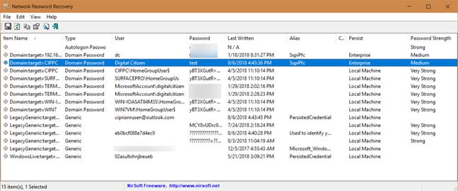 Network Password Recovery, parole, Windows