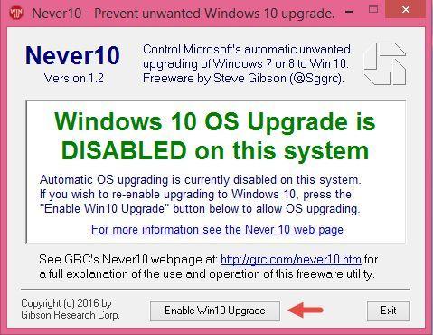 Never10, blocheaza, upgrade, actualizarea, Windows 10, mesaje, reclame