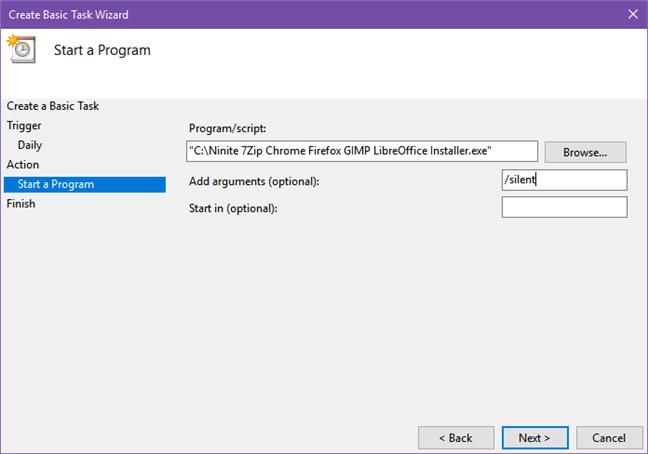 Activitate programată ce execută Ninite periodic, pentru a îți actualiza aplicațiile