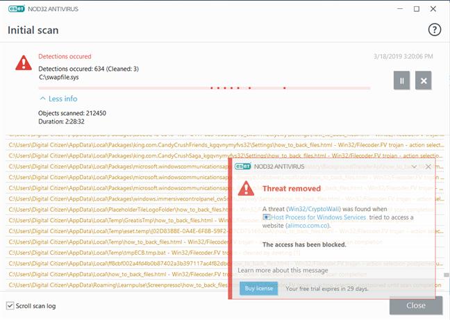 ESET NOD32 Antivirus detectând și eliminând infecții malware