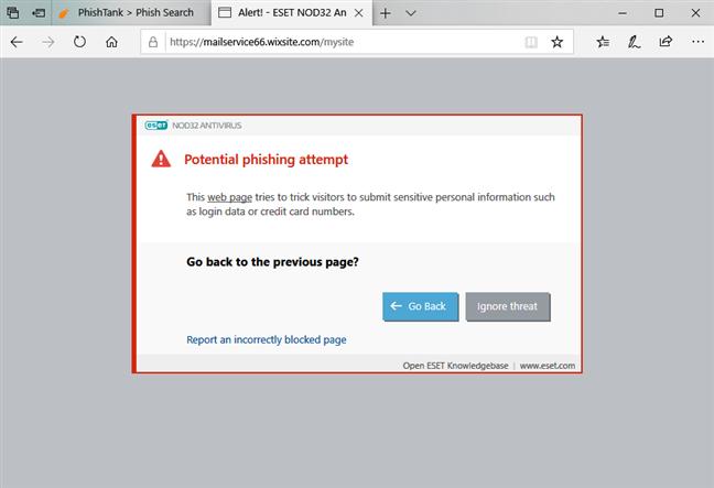 ESET NOD32 Antivirus blocând un sait de phishing
