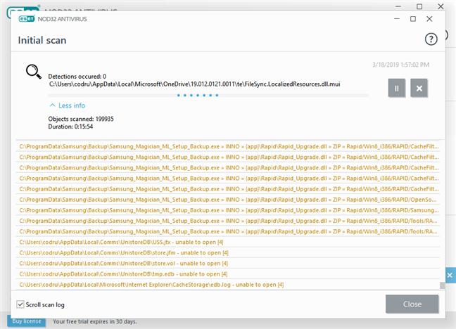 Scanarea antivirus inițială a sistemului, executată de ESET NOD32 Antivirus
