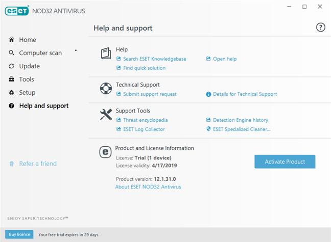 Opțiunile de ajutor și suport oferite de ESET NOD32 Antivirus