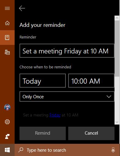 Mementouri în Cortana create cu Sticky Notes (Note adezive)