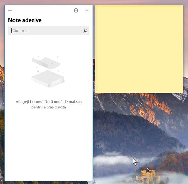 Deschiderea Note adezive pentru prima dată, în Windows 10