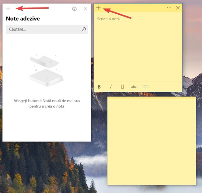 Crearea unei note noi în Sticky Notes (Note adezive)