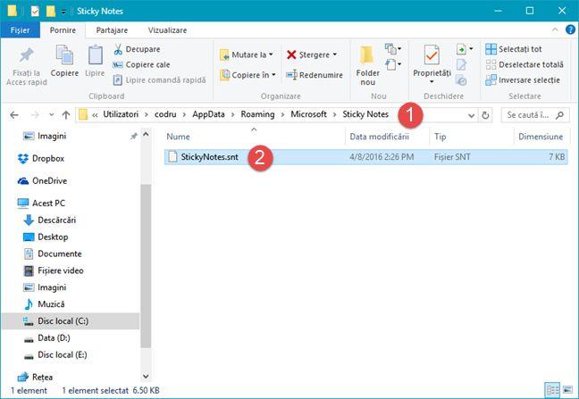 sincronizeaza, Note Adezive, Sticky Notes, Windows, OneDrive, Dropbox, notite