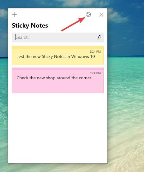 Butonul de setări din Sticky Notes (Note adezive)
