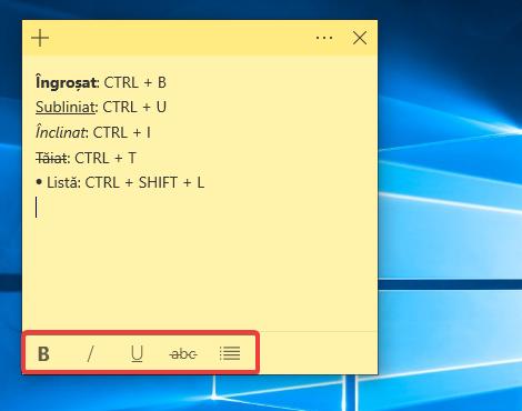 Formatări de text în Sticky Notes pentru Windows 10