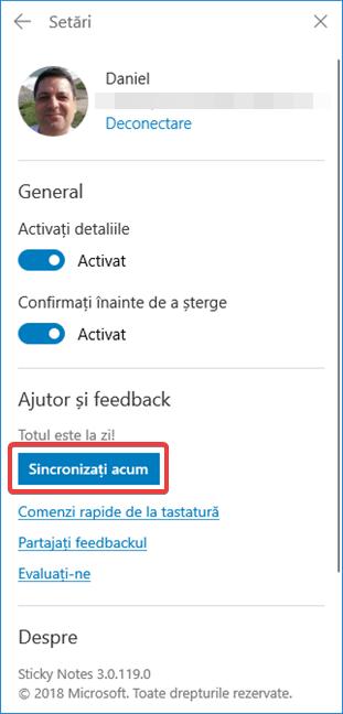 Sincronizează imediat în Sticky Notes (Note adezive)