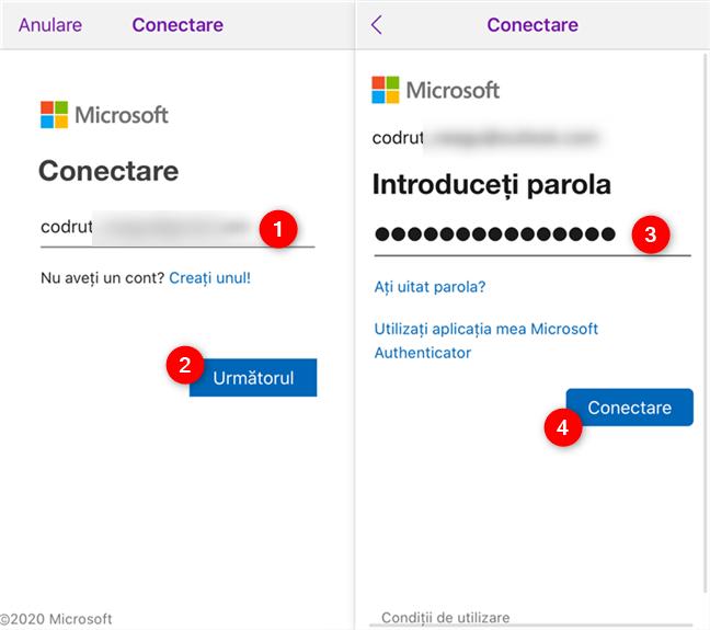 Conectarea la OneNote cu contul tău Microsoft