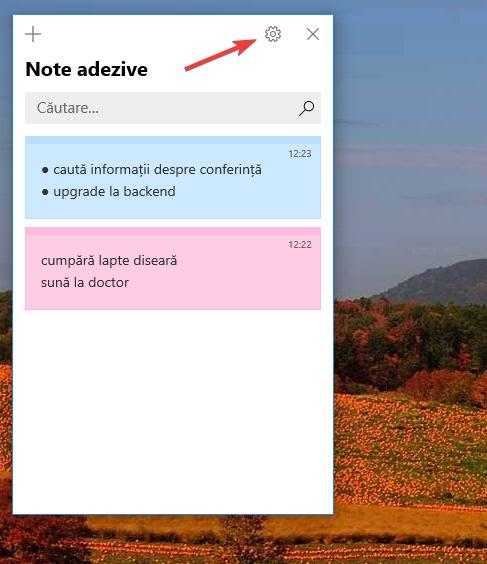 Deschide Setări în Sticky Notes (Note adezive)