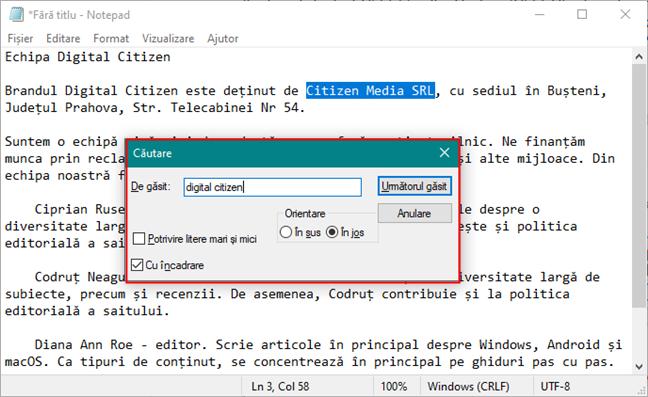 Utilizarea Notepad pentru a găsi un text într-un document