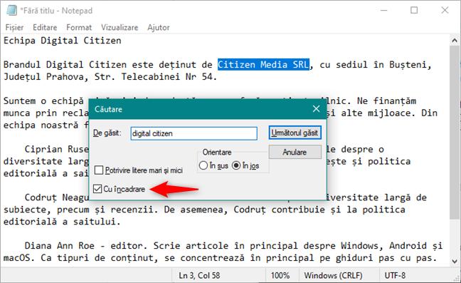 Setarea Cu încadrare din Notepad pentru Windows 10