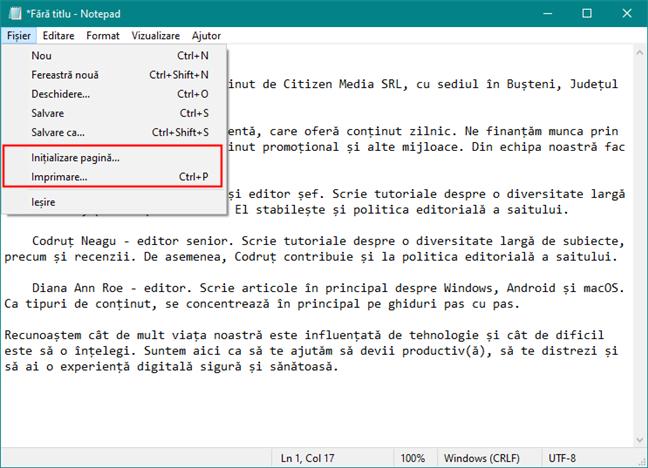 Inițializare pagină și Imprimare în Notepad