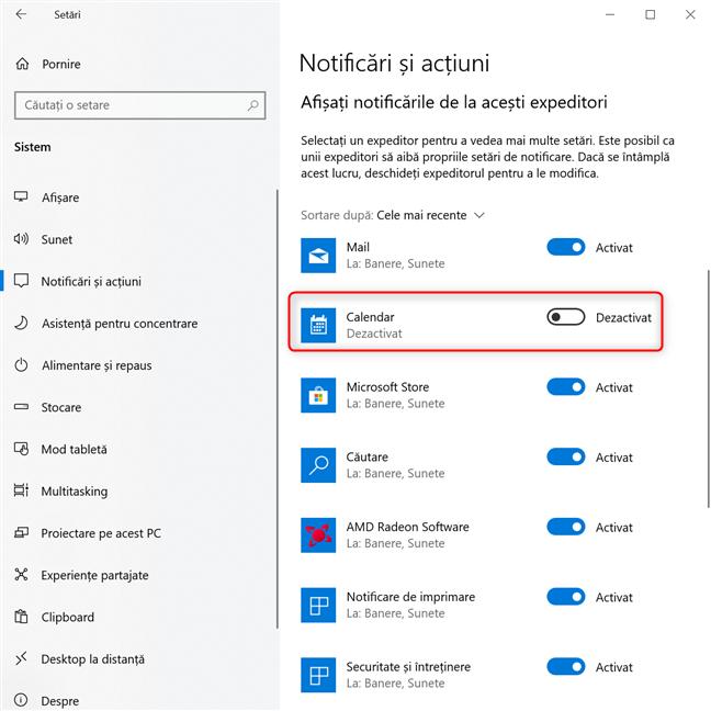 Setări Windows 10 -> Dezactivarea tuturor notificărilor unei aplicații