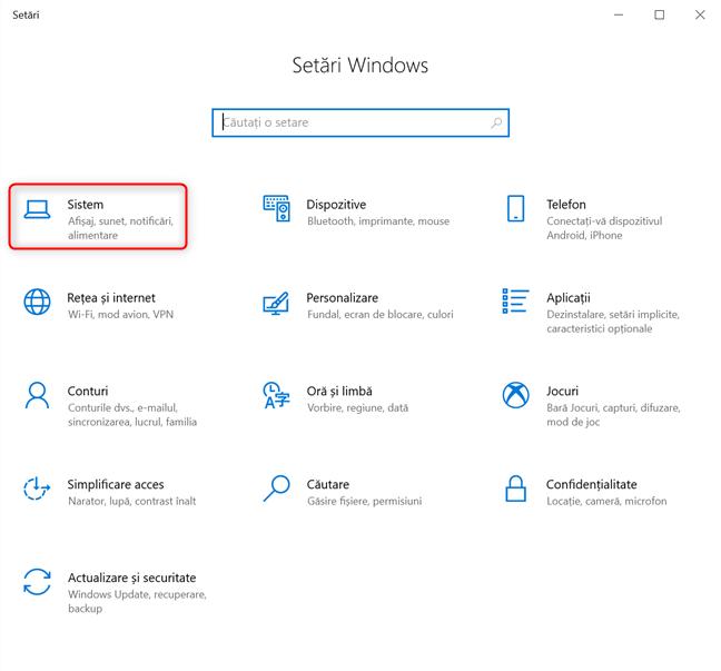Setări Windows 10 -> Mergi la Sistem