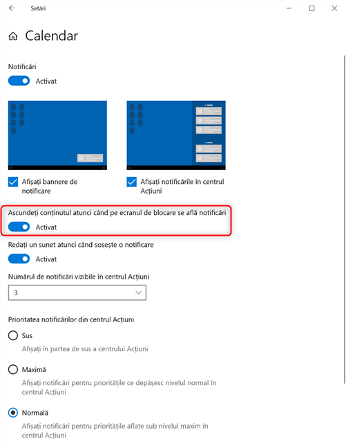 Comutatorul pentru ascunderea conținutului notificărilor pe ecranul de blocare
