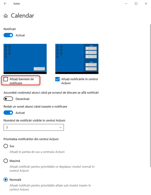 Debifează setarea Afișați bannere de notificare în Windows 10