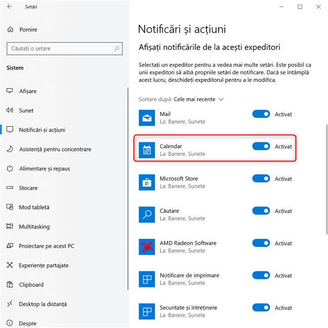 Deschide setările avansate pentru notificările unei aplicații din Windows 10