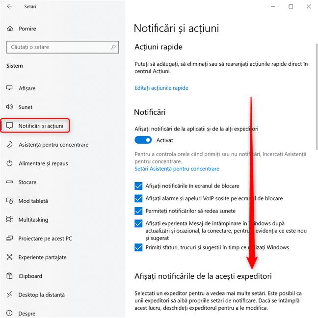 Setări Windows 10 -> Derulează până la Afișați notificări de la acești expeditori