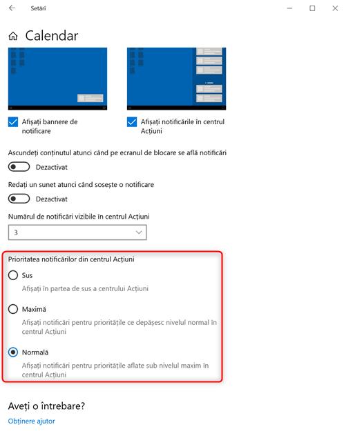 Alege prioritatea notificărilor afișate de o aplicație în Windows 10