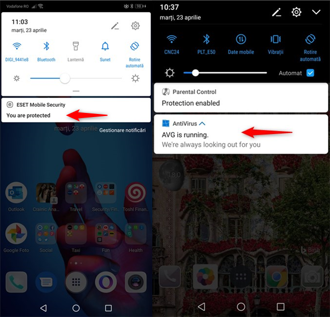 Notificări permanente din Android