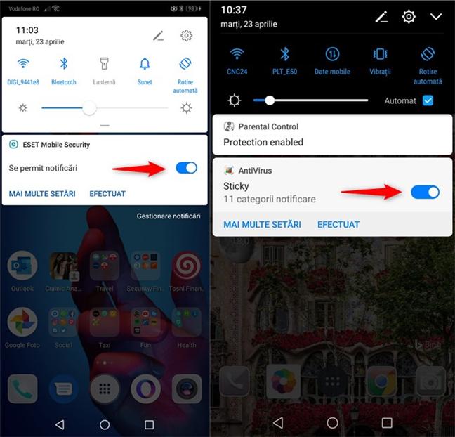 Dezactivarea unei notificări permanente în Android