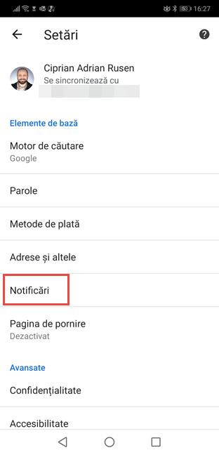 Apasă pe Notificări în setările Chrome