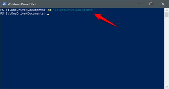 Utilizarea Powershell pentru a ajunge la un anumit folder