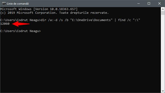 Utilizarea Liniei de comandă (cmd) pentru a număra fișierele dintr-un folder