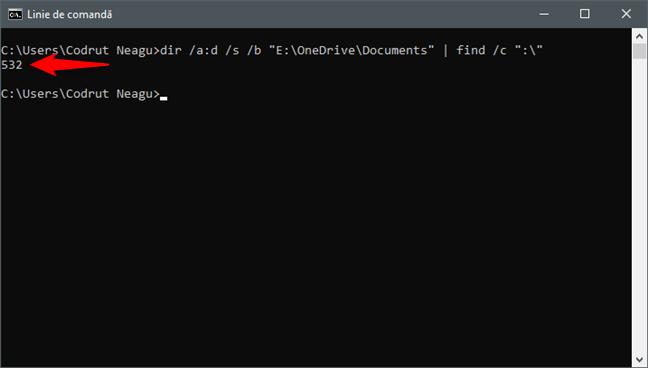 Utilizarea Liniei de comandă (cmd) pentru a număra subfolderele dintr-un folder
