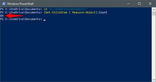 Utilizarea PowerShell pentru a număra fișierele și folderele dintr-un folder