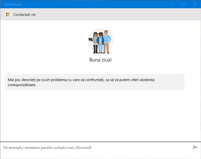 Ecranul de start al aplicației Obțineți ajutor