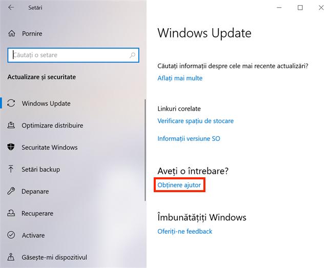 Legătura Obținere ajutor din partea de jos a setărilor pentru Windows Update