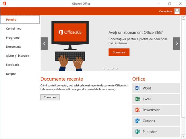 Obtineti Office, Get Office, Windows 10