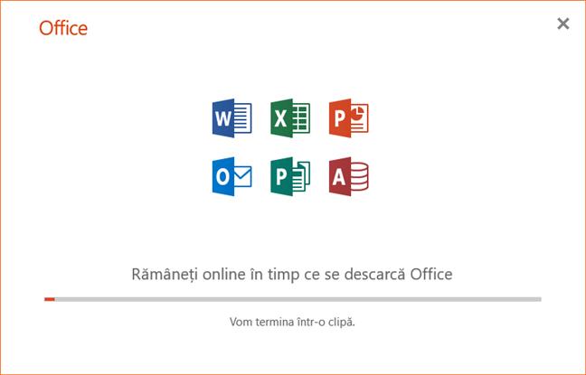 Rularea aplicației de instalare pentru Office 365 pe 64 de biți