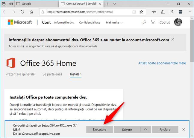Descărcarea Office 365 pe 64 de biți