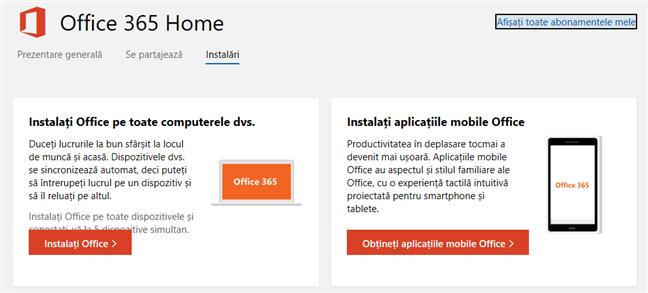 Link-urile de instalare pentru Office 365 Home