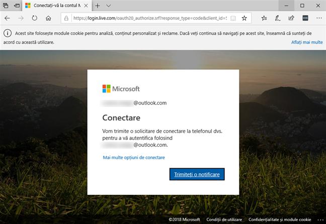 Autentificarea la contul tău Microsoft