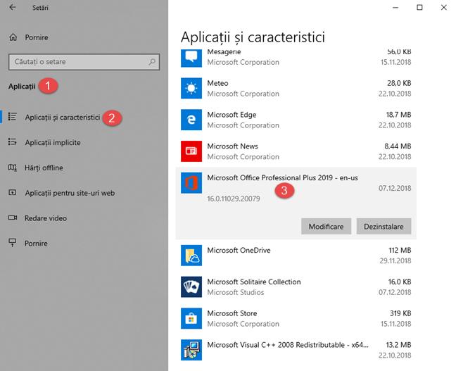 Versiunea de produs a Microsoft Office, în aplicația Setări
