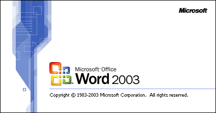 Pornește Word în Office 2003