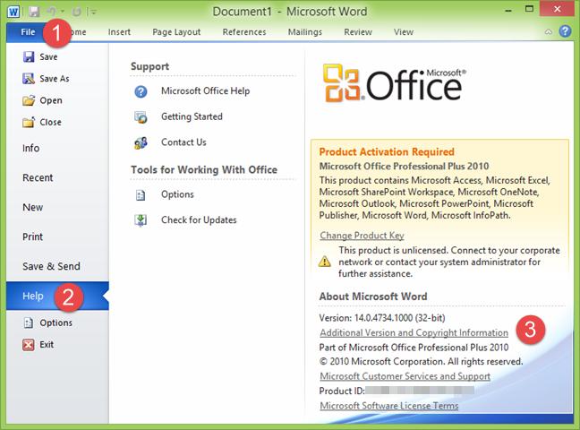 Versiunea de produs în Microsoft Word 2010