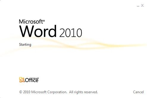 Pornește Word în Office 2010